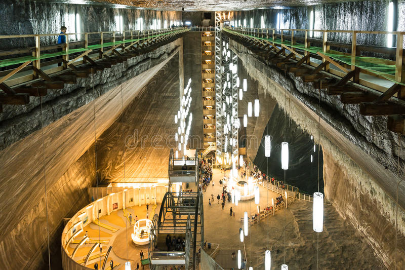 Salina Turda Salt Mine. TURDA, ROMANIA - AUGUST 21, 2014: Opened In 1992 Salina Turda is a salt mine located in Durgau-Valea Sarata area of Turda, second largest royalty free stock photography