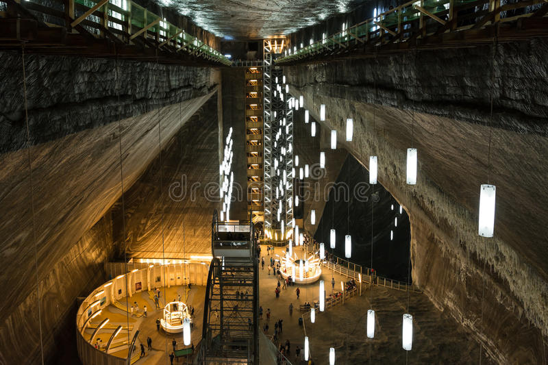 Salina Turda Salt Mine. TURDA, ROMANIA - AUGUST 21, 2014: Opened In 1992 Salina Turda is a salt mine located in Durgau-Valea Sarata area of Turda, second largest stock images
