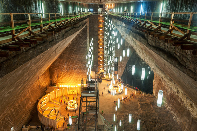 Salina Turda Salt Mine. TURDA, ROMANIA - 29 March 2015: Opened In 1992 Salina Turda is a salt mine located in Durgau-Valea Sarata area of Turda, second largest royalty free stock photos