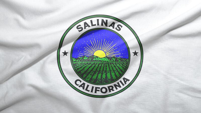 Salinas of California of United States flag background. Salinas of California of United States flag on the fabric texture background royalty free stock images