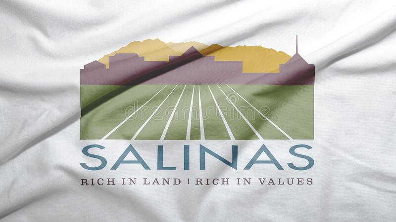 Salinas of California of United States flag background. Salinas of California of United States flag on the fabric texture background stock images