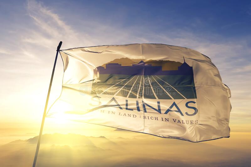 Salinas of California of United States flag waving on the top. Salinas of California of United States flag waving stock image