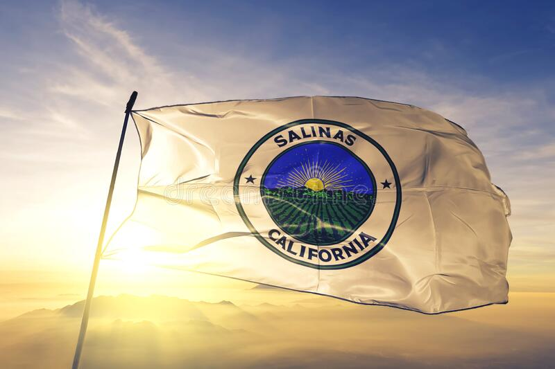 Salinas of California of United States flag waving on the top. Salinas of California of United States flag waving royalty free stock images