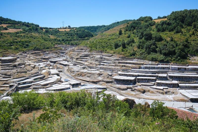 Salinas DE Anana in Baskisch Land, Spanje stock afbeeldingen