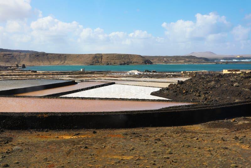 Salinas de Janubio è appartamenti del sale a Lanzarote delle isole Canarie Le acque dalla laguna naturale sono evaporate per rend immagine stock