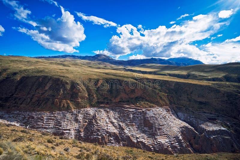 Salinas de Maras的来源沿Qaqawinay山倾斜,在3,380 m的海拔位于Urumbamba谷, 库存照片