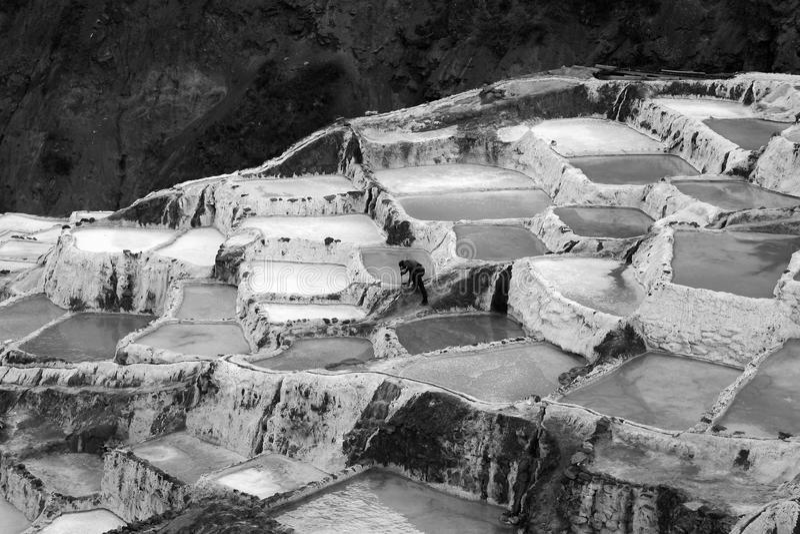Salinas de Maras,在秘鲁 免版税库存图片