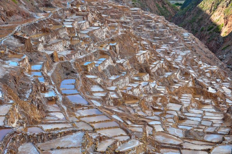 Salinas de Maras,神圣的谷,秘鲁 免版税库存图片