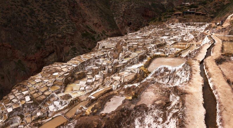 Salinas de Maras, evaporación de la sal acumula cerca del valle y del Cuzco sagrados en Perú meridional imagenes de archivo