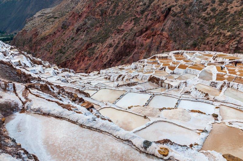 Salinas de Maras, Perú Mina natural de la sal Cacerolas de Inca Salt en Maras, cerca de Cuzco en valle sagrado, Perú Visión panor imágenes de archivo libres de regalías