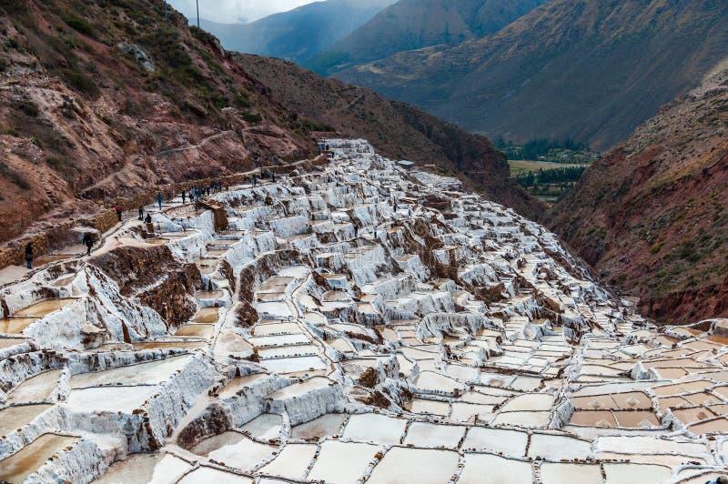 Salinas de Maras, Perú Mina natural de la sal Cacerolas de Inca Salt en Maras en el valle sagrado, Perú imágenes de archivo libres de regalías