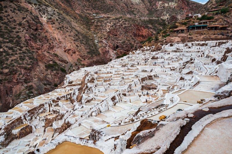 Salinas de Maras, Perú Mina natural de la sal Cacerolas de Inca Salt en Maras en el valle sagrado, Perú foto de archivo libre de regalías