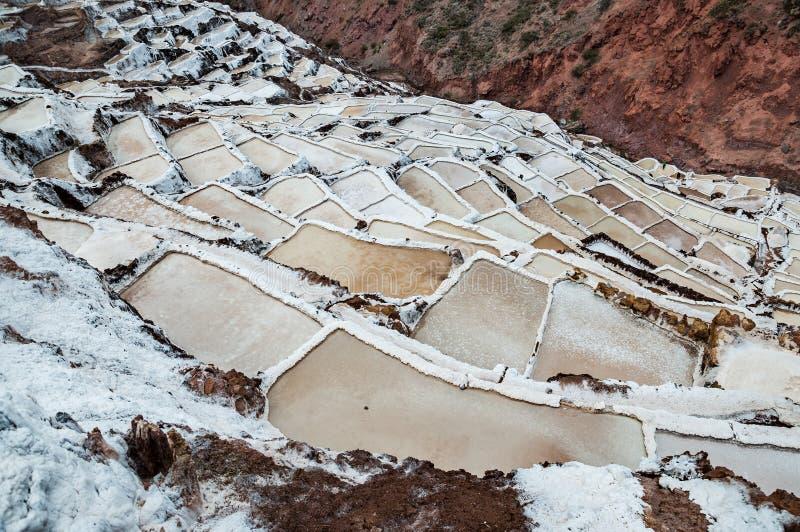 Salinas DE Maras, Peru Zoute natuurlijke mijn Inca Salt-pannen in Maras, dichtbij Cuzco in Heilige Vallei, Peru stock foto's