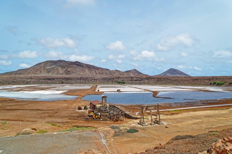 Salinas de Pedra de Lume na wyspie Sal, Wyspy Zielonego Przylądka zdjęcie stock