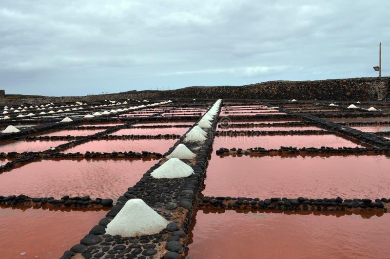 Salinas del Carmen, Fuerteventura de Las Cacerolas de la sal foto de archivo libre de regalías