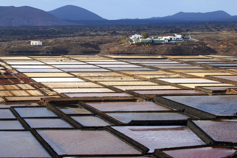 Salinas Del Janubio Lanzarote, Kanarische Insel, Touristenattraktion stockfotos