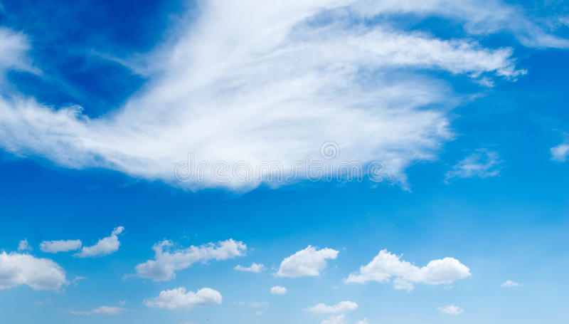 Salinas, Ecuador - March 22, 2016: Beautiful blue sky above pacific ocean, image captured from the beach.  stock photography