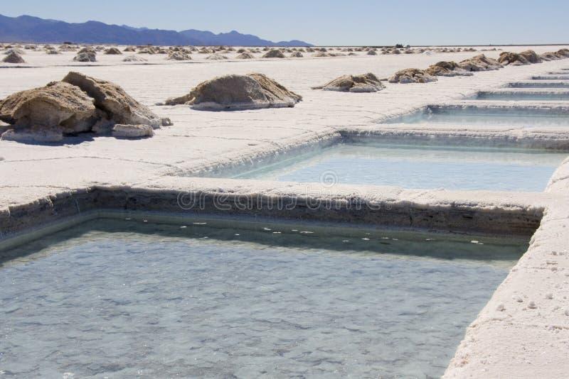 Salinas Grandes - Argentina. Salt Pools at the Salinas Grandes in Argentina royalty free stock photos