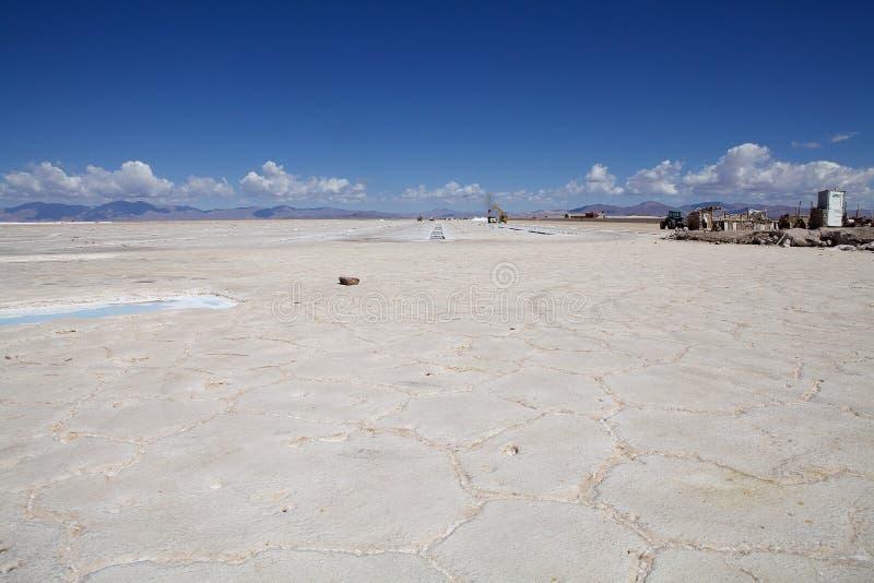 Salinas Grandes i nordvästligt av Argentina i landskapen av Salta och Jujuy royaltyfria foton