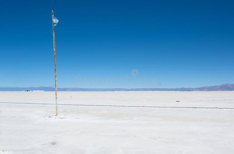 Salinas Grandes och flagga av Argentina royaltyfria bilder