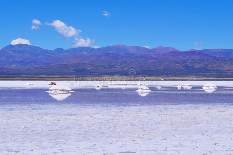 Salinas Salitral Grandes, great salt lake desert, near Susques, Jujuy Province, Argentina royalty free stock photos