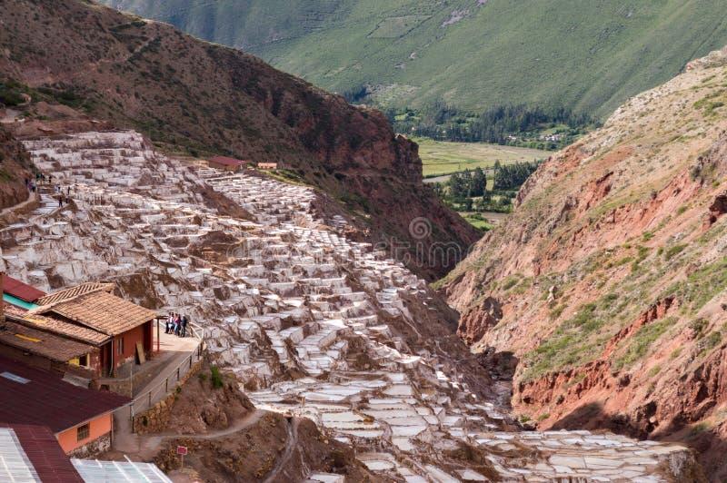 Salineiras famoso en el machu Picchu de la región de Perú imagen de archivo