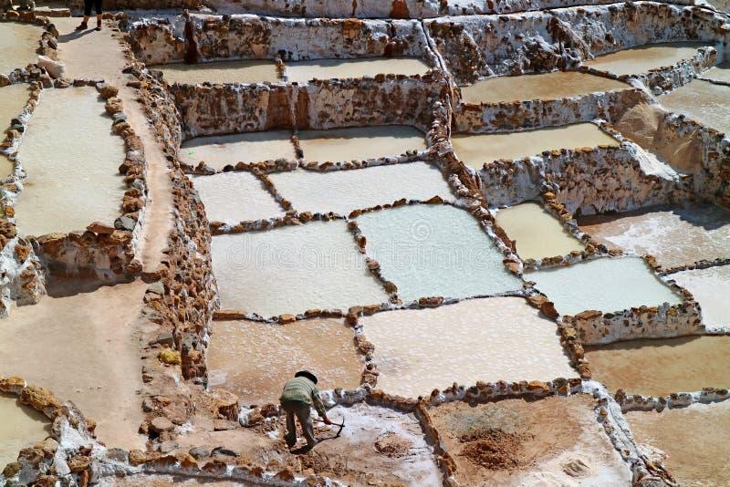 Salineras在今天生产的de仍然Maras盐矿,印加人的神圣的谷,库斯科地区,秘鲁 库存图片