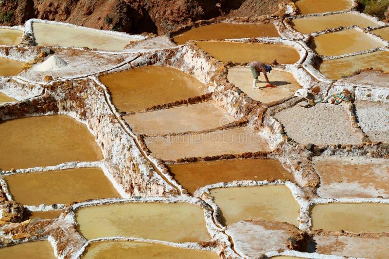 Salineras de Maras, неимоверные солевые рудники в каньоне священной долины Incas, зоны Cusco, Перу стоковое фото