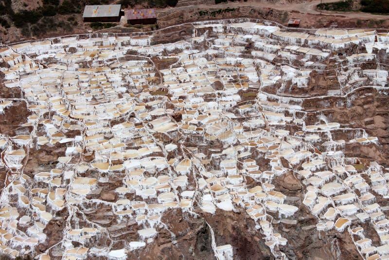 ` Salineras o ` di Salinas de Maras, nelle montagne delle Ande in Cusco, il Perù fotografia stock libera da diritti