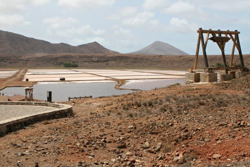 Salines de Cabo Verde na ilha do Sal imagens de stock