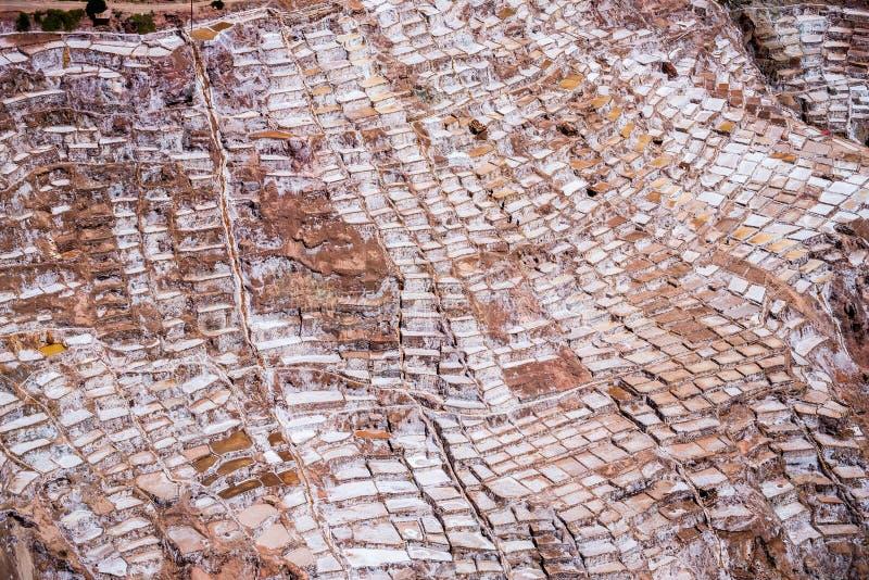 Salines de maras près de cuzco un jour ensoleillé images stock