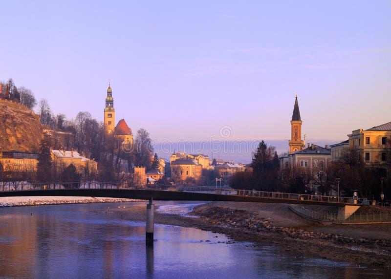 Salisburgo in mattina di inverno fotografie stock