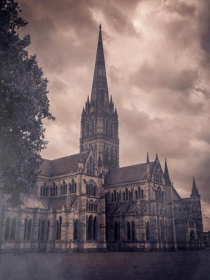 Salisbury cathedral with fog stock photo