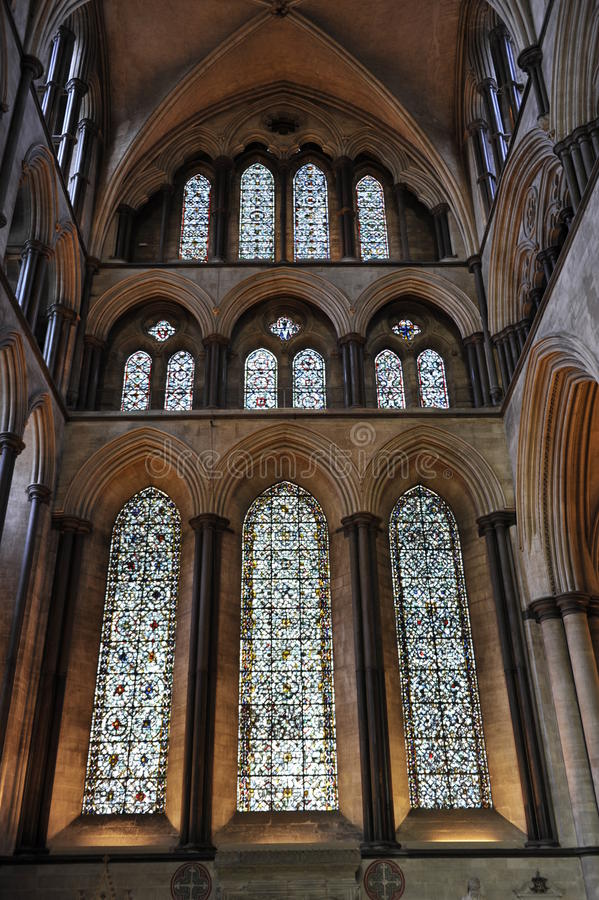 Salisbury Cathedral's Windows stock photo