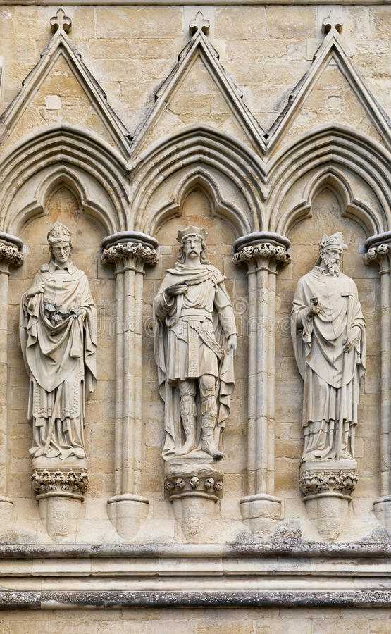 Salisbury Cathedral statues. Statues of Saints on the exterior of Salisbury Cathedral, Wiltshire, UK. This Anglican Cathedral was built in the 13th Century, and royalty free stock photography