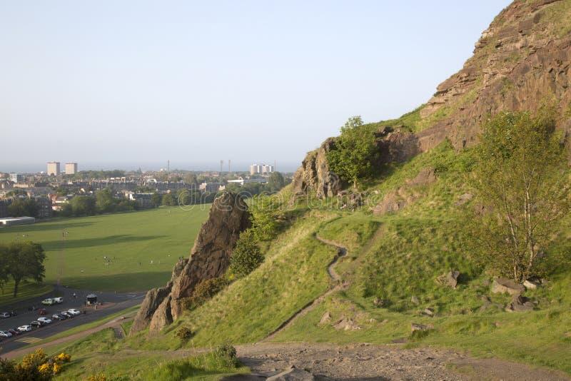 Salisbury Crags, Holyrood Park, Edinburgh. Footpath on Salisbury Crags, Holyrood Park, Edinburgh, Scotland stock image