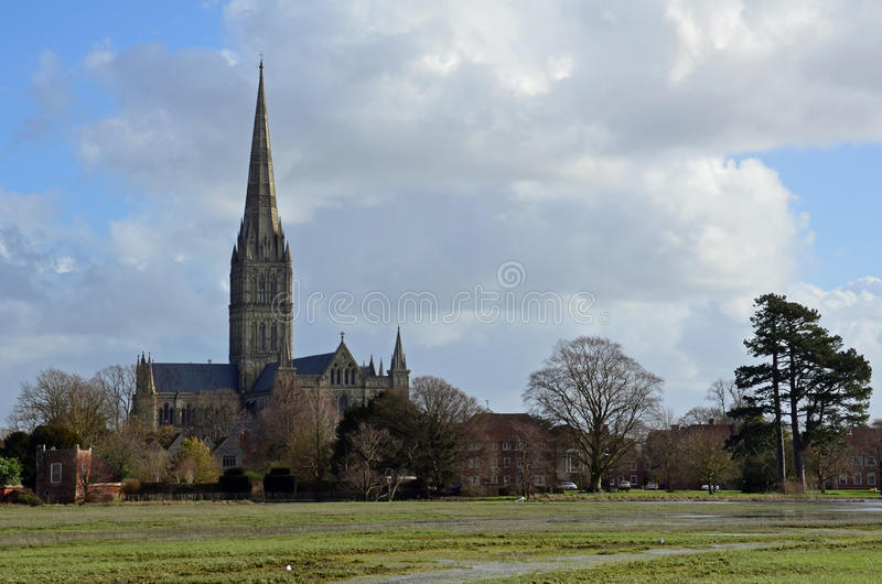 Salisbury domkyrka och översvämmade vattenängar royaltyfria bilder