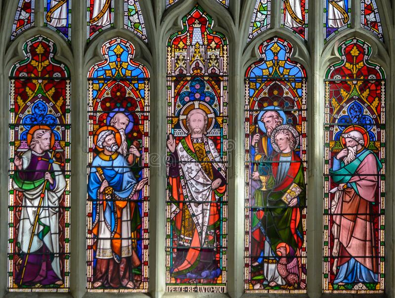 St Thomas and St Edmunds Church - The East Chancel Window Upper stock photo