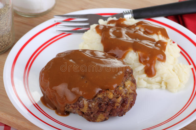 salisbury steak royaltyfri foto