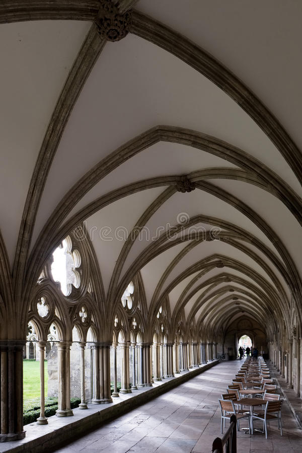 SALISBURY, WILTSHIRE/UK - MARCH 21 : Cloisters at Salisbury Cathedral in Salisbury Wiltshire on March 21, 2017. Unidentified stock photography