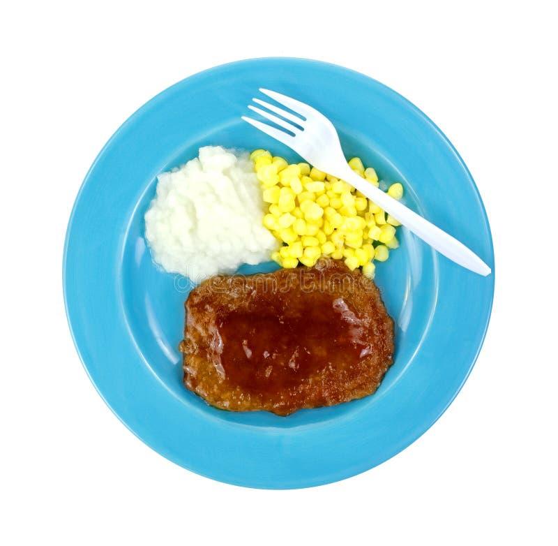 Salisbuy牛排午餐牌照叉子 库存照片
