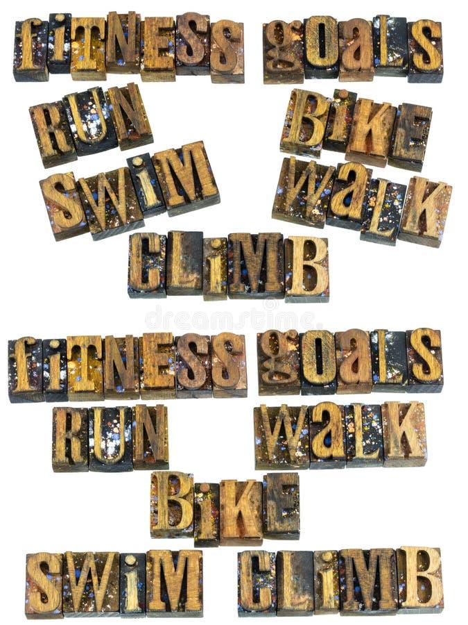 Salita della passeggiata della bici di nuotata di funzionamento di scopi di forma fisica fotografia stock libera da diritti