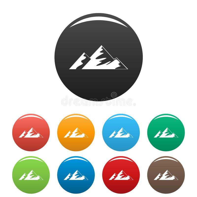 Salita sul vettore di colore fissato icone della montagna royalty illustrazione gratis