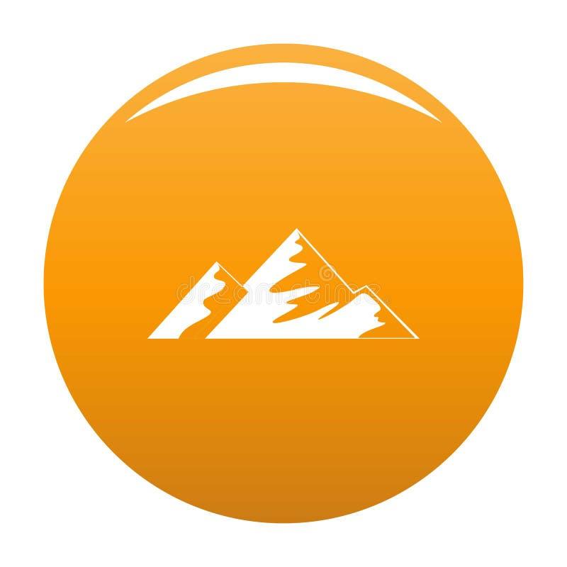 Salita sull'arancia dell'icona della montagna illustrazione di stock
