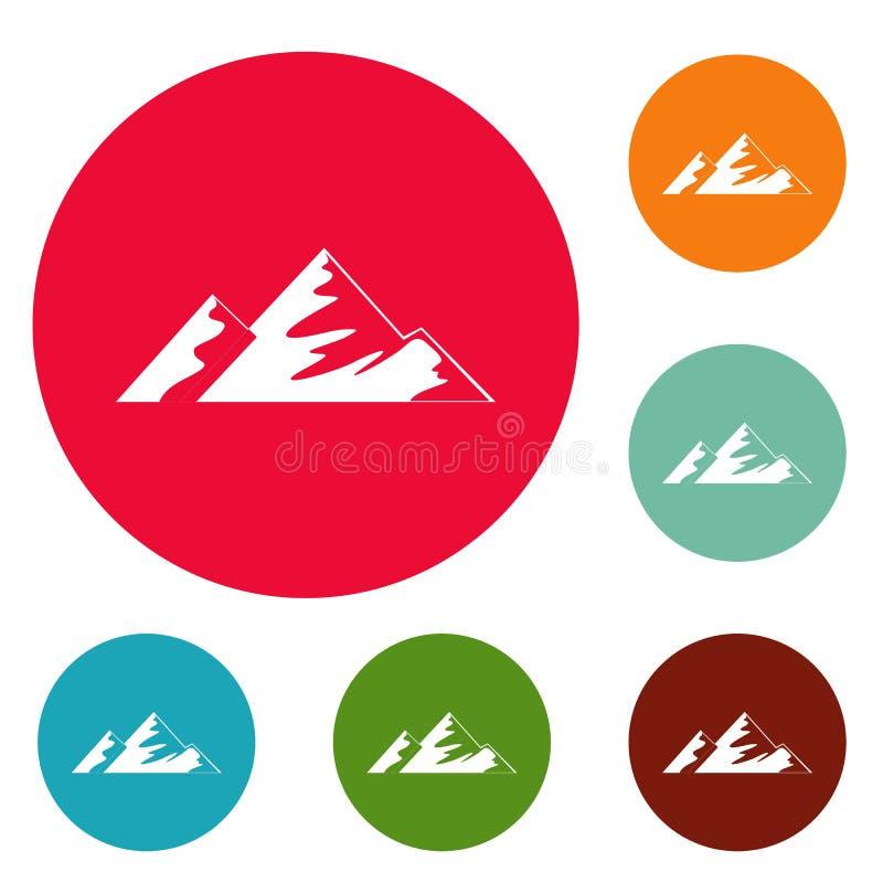 Salita sull'insieme del cerchio delle icone della montagna royalty illustrazione gratis