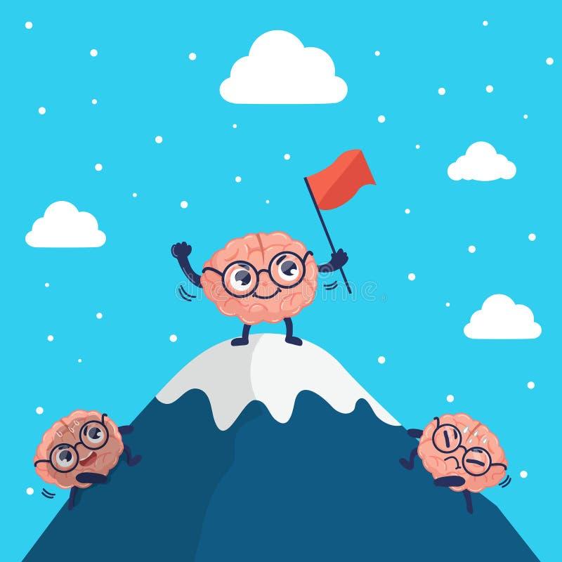 Salite sveglie del cervello del carattere alla cima della montagna royalty illustrazione gratis