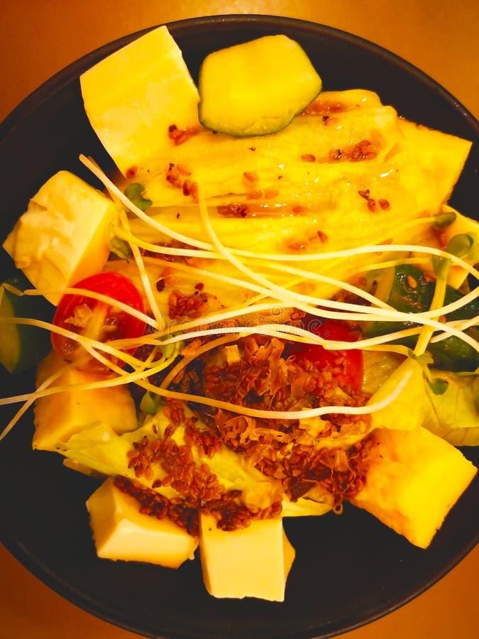 Sallad för japansk stil Delarna är den vita tofuen, grönsallat, till royaltyfria foton