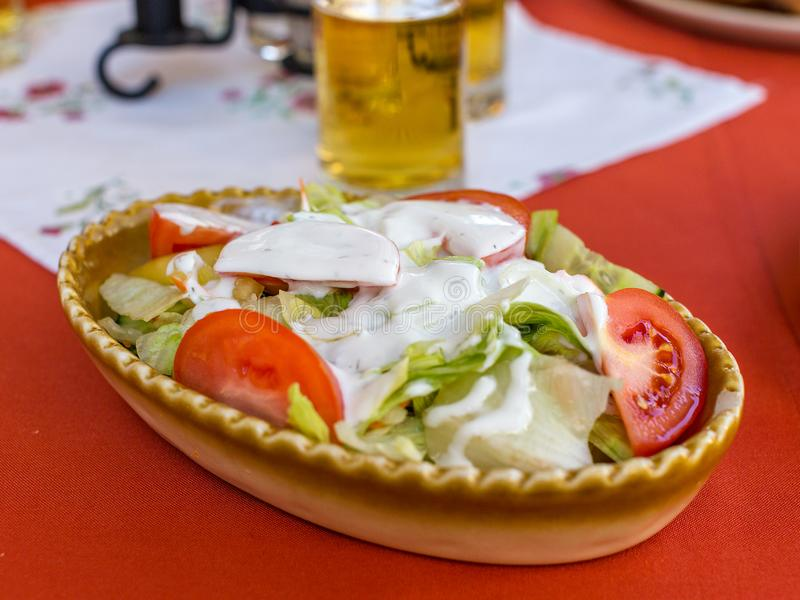 Sallad för ny grönsak med yoghurtsås i oval keramisk maträtt sund begreppsmat Selektivt fokusera arkivbilder