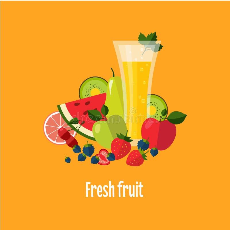 Sallad från frukt och bär stock illustrationer
