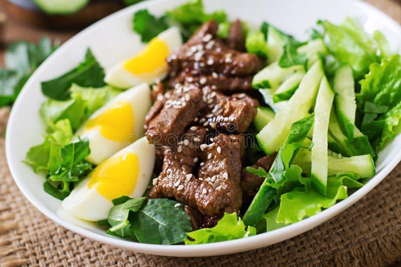 Sallad med kryddigt nötkött, gurkan och ägg royaltyfria foton